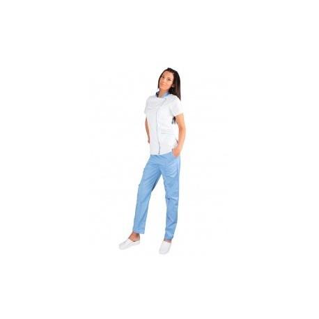 Дамска туника модел SINTIA- бяло+ светло синьо
