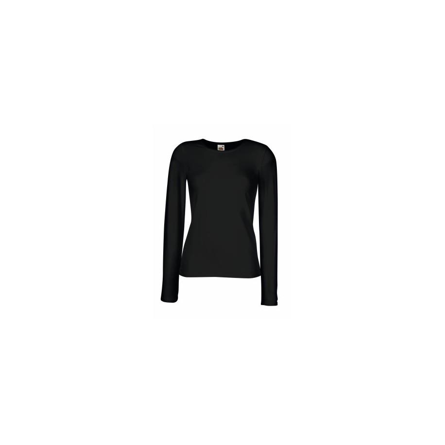Дамска тениска с дълъг ръкав - черна